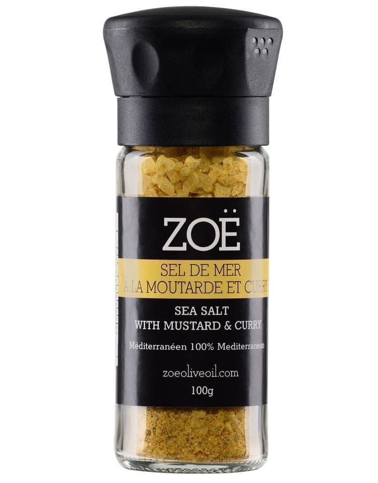 ZOE SEL DE MER INFUSÉ MOUTARDE ET CURRY - MUSTARD AND CURRY INFUSED SEA SALT FROM ZOE - 100g